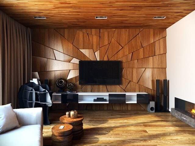 Гостиная с отделкой деревянными панелями