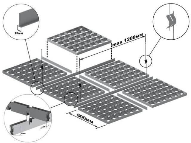 Черчеж отделки потолка кассетным способом