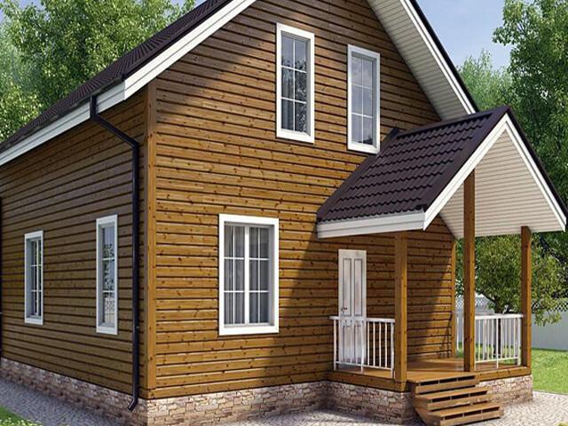 Каркасный дом с деревянной облицовкой