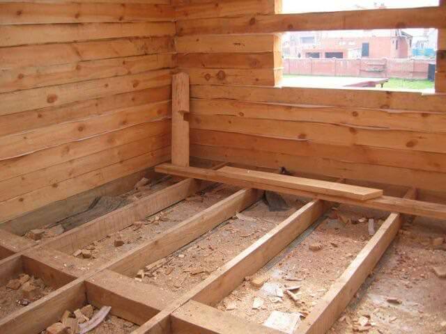 строительство пола в бане