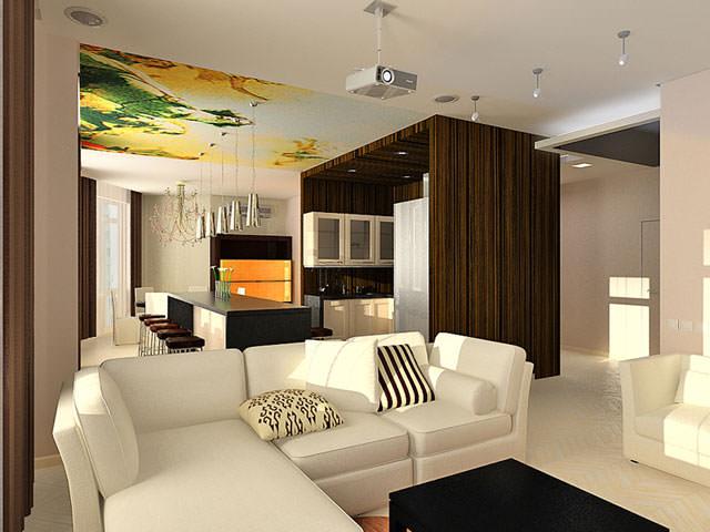 П образная кухня совмещенная с гостиной дизайн