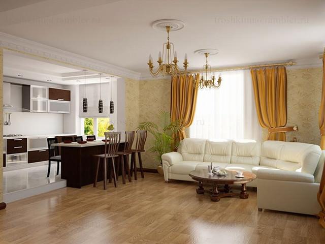 Дизайн кухни-столовой в частном доме 25 кв.м